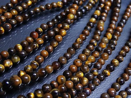 ПК008НН6 Бусины из природного камня тигровый глаз, размер: 6 мм, количество 1 шт