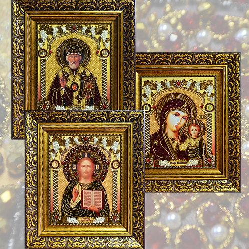 Иконостас (Богородица Казанская, Господь Вседержитель, Николай Чудотворец)