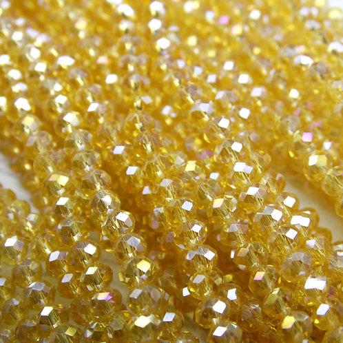 БП003ДС23 Хрустальные бусины, цвет: шампанское (с покрытием), размер 2х3 мм