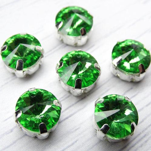 РЦ016НН10 Хрустальные стразы в цапах круглые, цвет: светло-зеленый, 10 мм, 1 шт.
