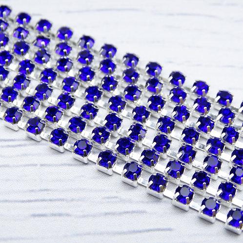 ЦС005СЦ3 Стразовые цепочки (серебро), цвет: Сапфир, размер: 3 мм, 30 см/упак.