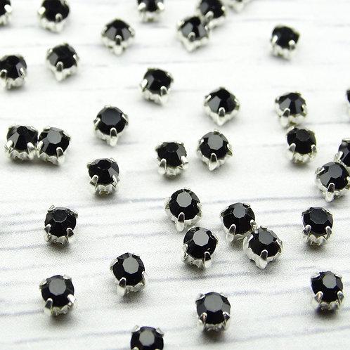 СЦ003НН44 Хрустальные стразы Черные в металлических цапах (серебро) 4х4мм.