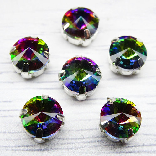 РЦ004НН10 Хрустальные стразы в цапах круглые, цвет: радужный, 10 мм, 1 шт.