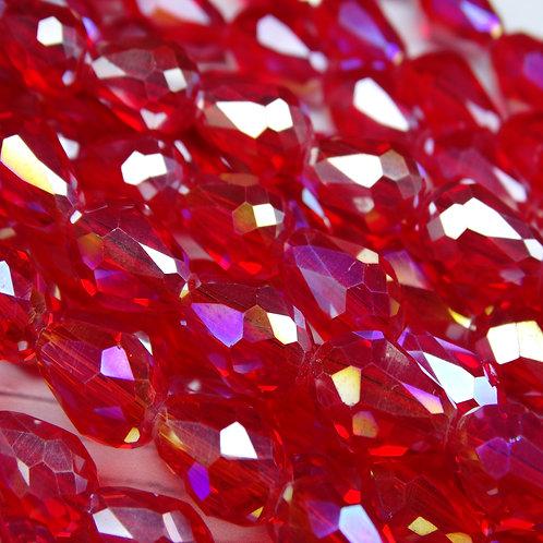 БК006ДС118 Хрустальные бусины-капли, красный (с покрытием), 8х11 мм, 10 шт.