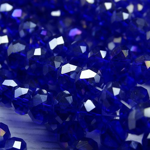 БП019ДС68 Хрустальные бусины, цвет: синий (с покрытием), размер: 6х8 мм.