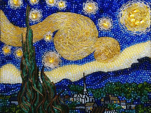 """Ткань с нанесенной авторской схемой """"Звездная ночь"""" Ван Гога"""
