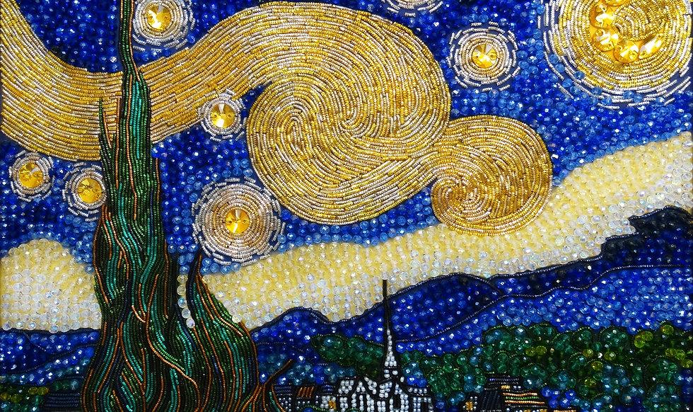 """Набор для вышивания хрустальными камнями """"Звездная ночь"""" Винсента Ван Гога"""