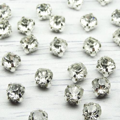 СЦ001НН66 Хрустальные стразы Белые в металлических цапах (серебро), 6х6мм.