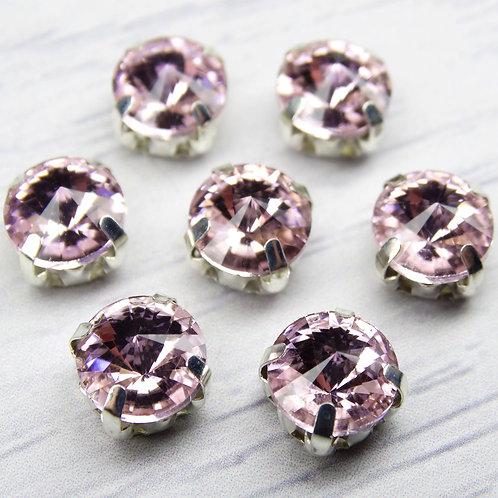 РЦ010НН8 Хрустальные стразы в цапах круглые, цвет: розовый, размер: 8 мм, 1 шт.