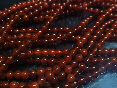 ПК014НН6 Бусины из природного камня агат (красный), размер: 6 мм, 1 шт.