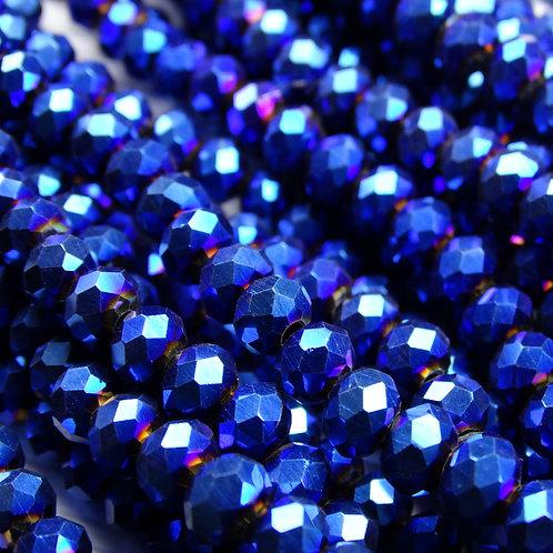БЛ006НН46 Хрустальные бусины, цвет: синий (металлик), размер: 4х6 мм.