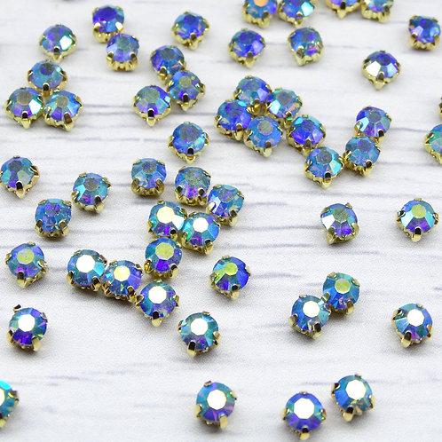 ЗЦ006ДС44 Хрустальные стразы в цапах, Светло-синий с покрытием (золото) 4 мм