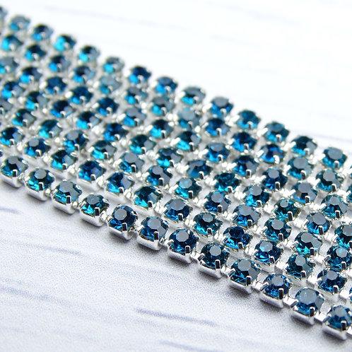 ЦС004СЦ2 Стразовые цепочки (серебро), цвет: Лазурный, размер: 2 мм, 30 см/упак.
