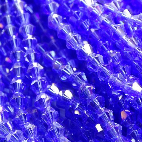"""ББ018ДС3 Хрустальные бусины """"биконус"""", светло-синий (с покрытием), 3 мм"""