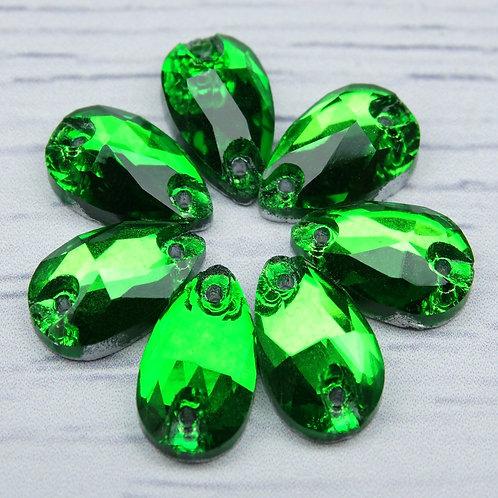"""ХК008НН712 Хрустальные стразы формы """"капля"""", цвет: зеленый, 7х12 мм, 1 шт."""