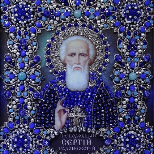 Ткань с нанесенной авторской схемой Преподобный Сергий Радонежский