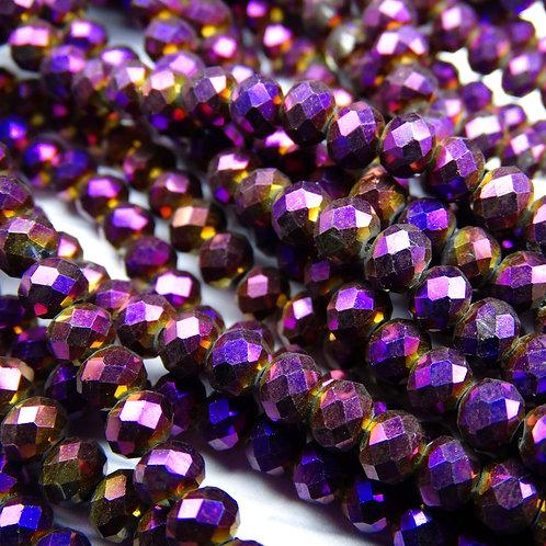 БЛ005НН46 Хрустальные бусины, цвет: фиолетовый (металлик), размер: 4х6 мм.