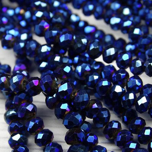 БЛ006НН34 Хрустальные бусины, цвет: синий (металлик), размер: 3х4 мм.