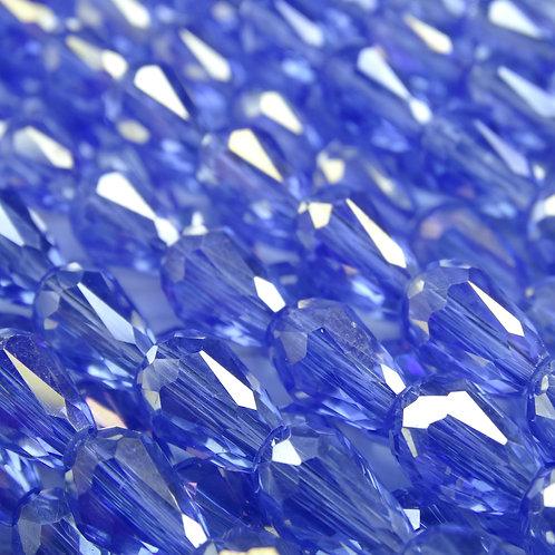 БК002ДС118 Хрустальные бусины-капли, голубой (с покрытием), 8х11 мм, 10 штук.