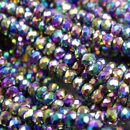 БЛ008НН34 Хрустальные бусины, цвет: разноцветный (металлик), размер: 3х4 мм.