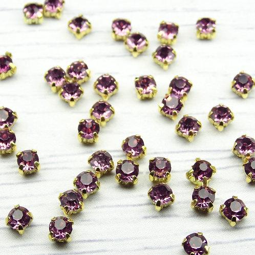 ЗЦ010НН44 Хрустальные стразы Фиолетовые в металлических цапах (золото) 4х4мм.