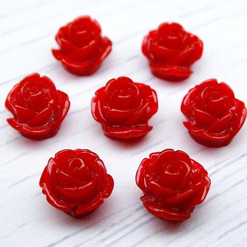 РА001НН10 Пришивные розы из смолы, цвет: бордовый, размер: 10 мм, 1 шт.