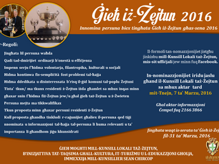 Jinfetħu n-nominazzjonijiet għal Ġieħ iż-Żejtun 2016