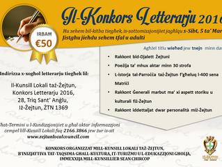 Jinfetħu s-sottomissjonijiet għall-Konkors Letterarju 2016