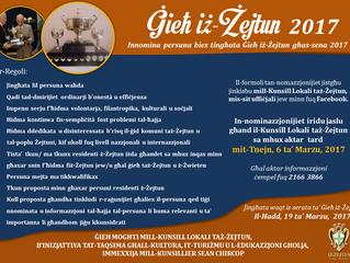 Jinfetħu n-nominazzjonijiet għal Ġieħ iż-Żejtun 2017