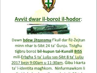 Avviż dwar il-boroż il-ħodor