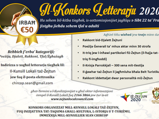 Is-sottomissjonijiet għall-Konkors Letterarju 2020 jinsabu miftuħa