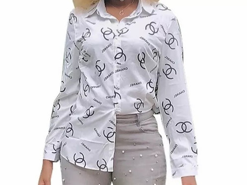 Women Letter Button Up Shirts