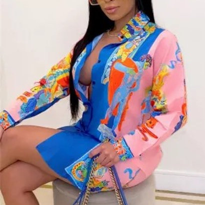 Shirt Mini Print Dress
