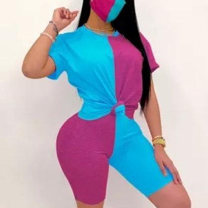 Casual Sportswear Patchwork Two Piece Sets W/Mask