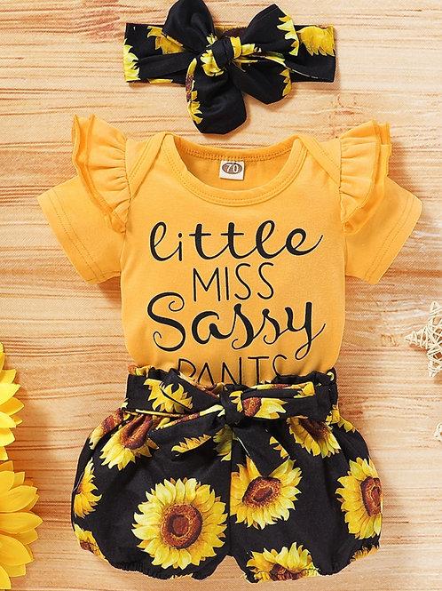 Girls Yellow Sunflower 3Piece Set