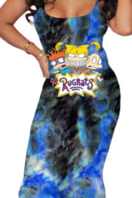 Beautiful Cartoon Tie Dye Dress