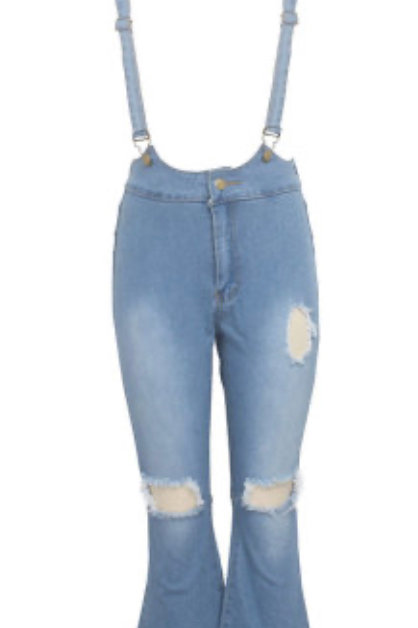 Denim Solid Hole Boot Cut Flare Jeans