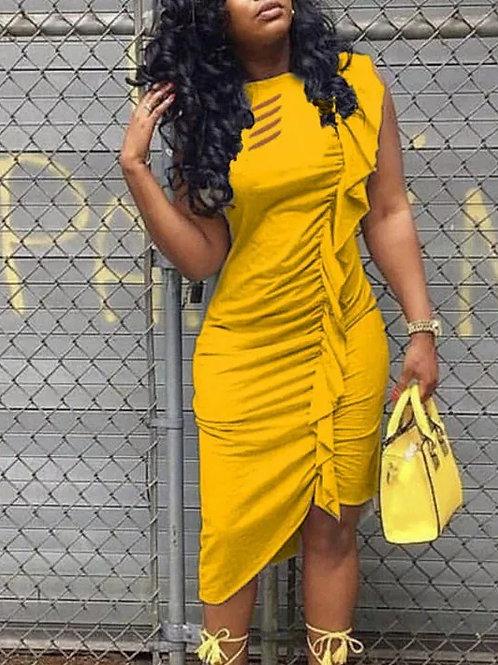 Asymmetrical Draped Ruffle Dresses