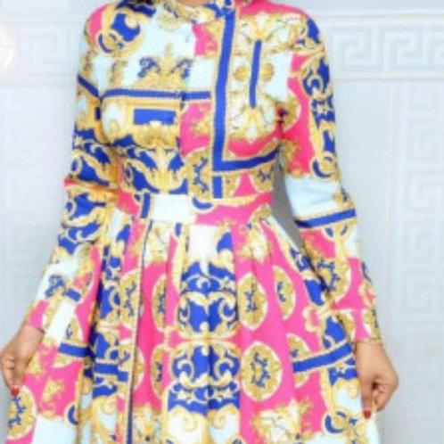 Quality Long Sleeve Print Elegant Midi Dress