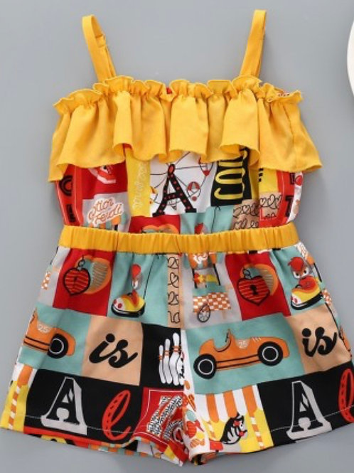 Girls Summer Letter Print Colorful Shorts Set