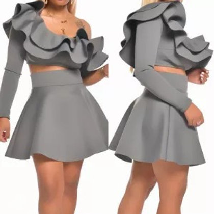 Oblique Ruffled Collar Two Piece Skirt Sets
