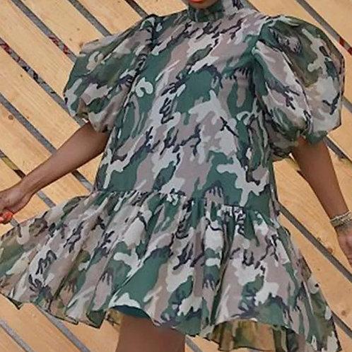 Mini Print Camouflage Dress