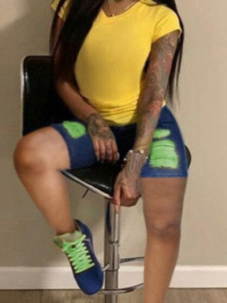 Casual Stitching Ripped Denim Shorts