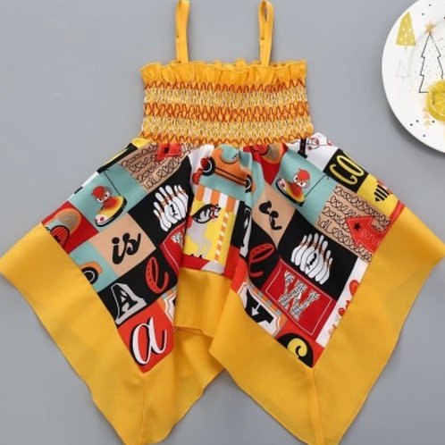 Little Girls Color Block Letter Summer Dress