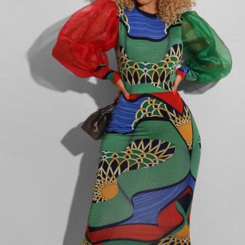 Fashion Color Lantern Sleeve Dress
