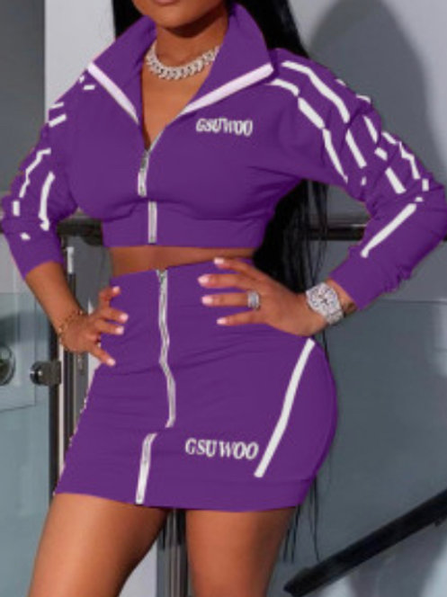 Sporty Embroidered Zipper Two Piece Suit