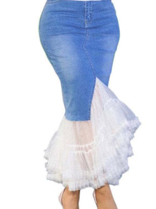 Gorgeous Blue Denim Split Mesh Skirt