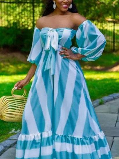 Off Shoulder Striped Dresses