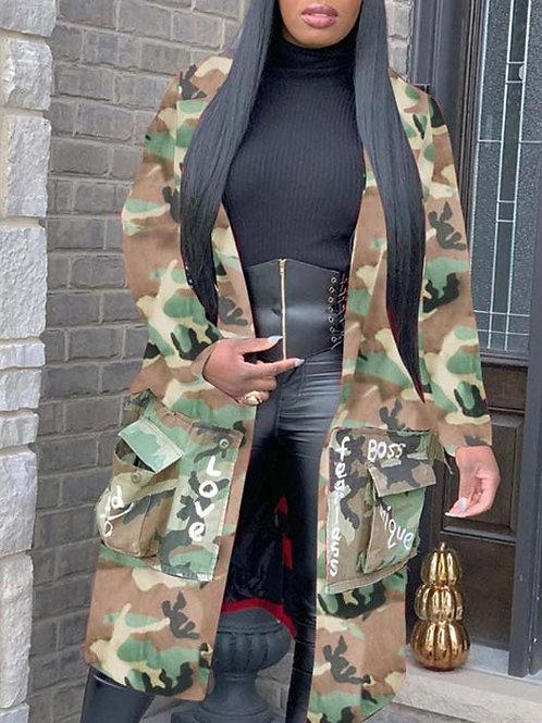 Multi-Pocket Camouflage Letter Jacket