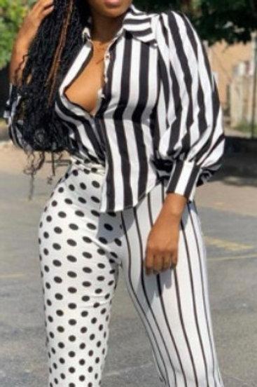 Strips and Polka Dot Printed Long-sleeved Shirt Pant Sets